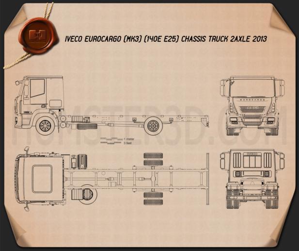 Iveco EuroCargo Chassis Truck (140E-E25) 2013 Blueprint