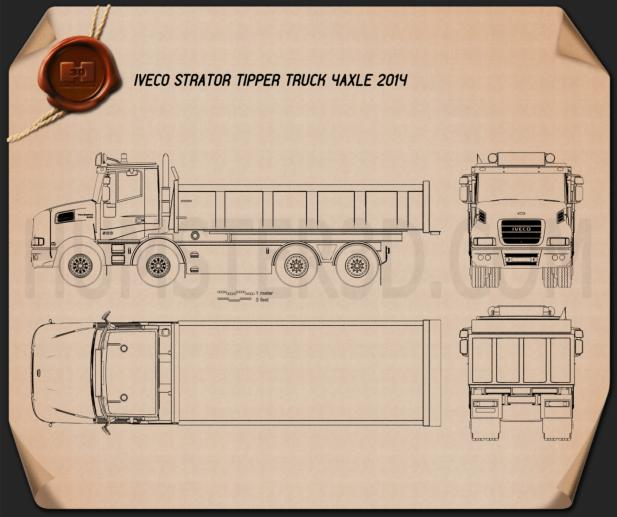 Iveco Strator Tipper Truck 2014 Blueprint