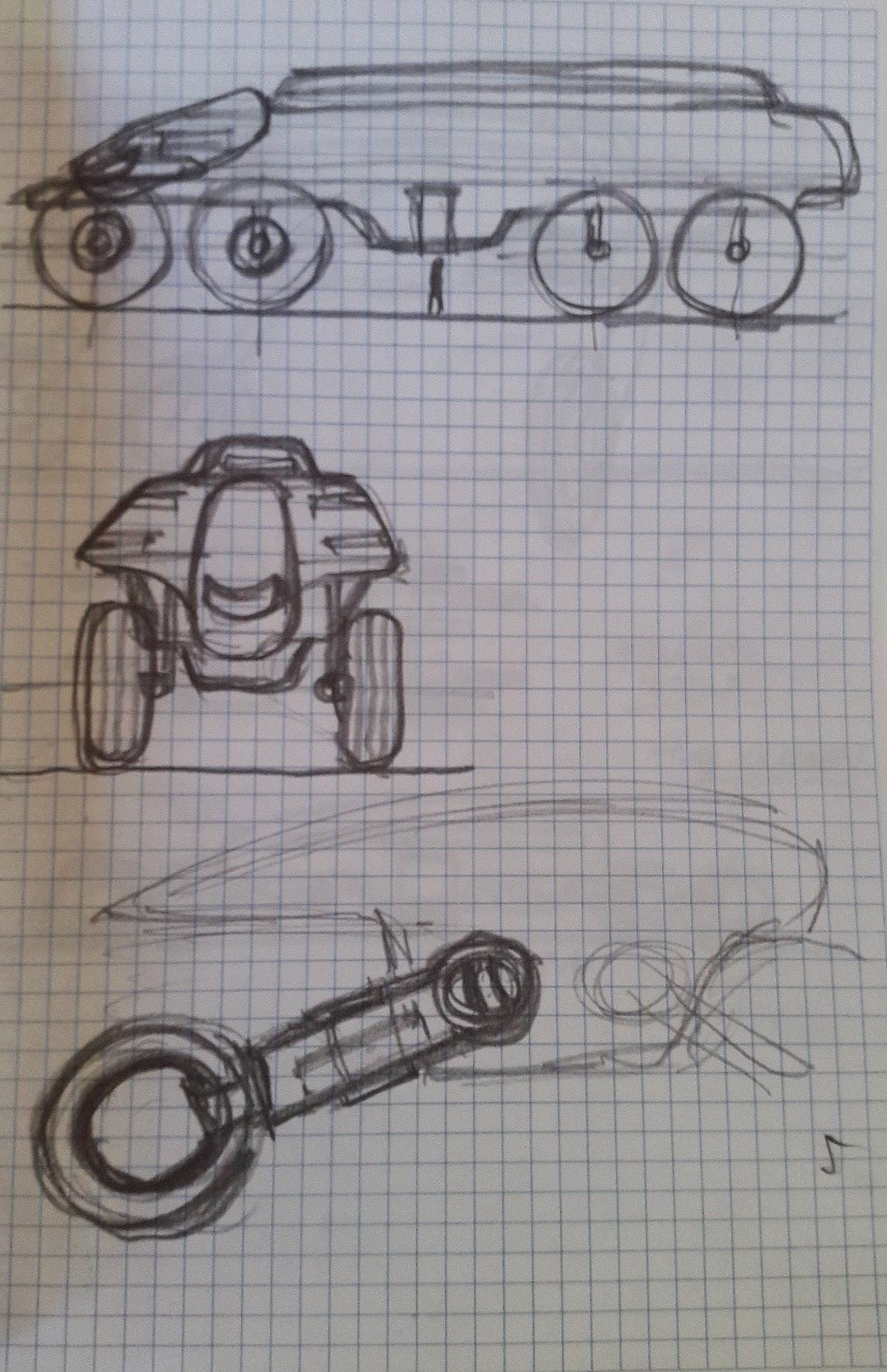 Concept of bus with legs for the wheels