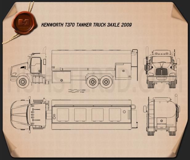 Kenworth T370 Tanker Truck 2009 Blueprint