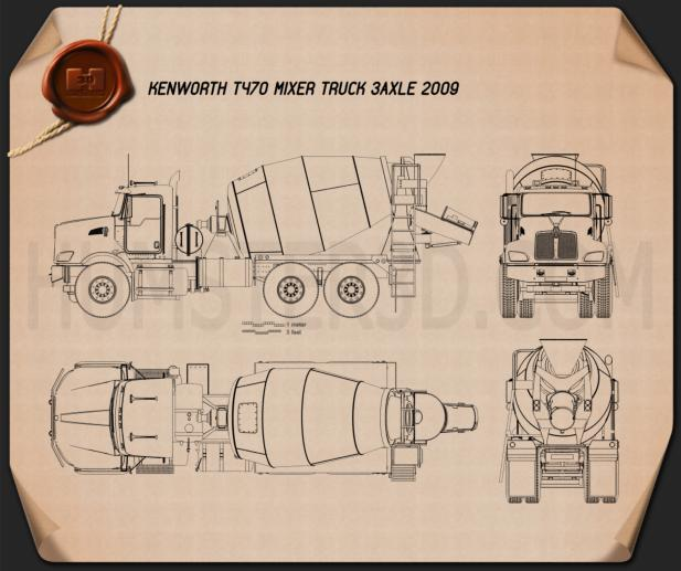 Kenworth T470 Mixer Truck 2009 Blueprint