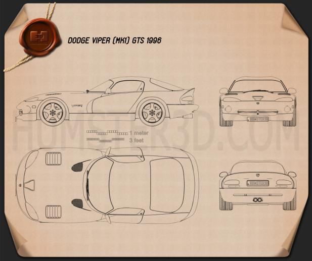 Dodge Viper GTS 1998 Blueprint