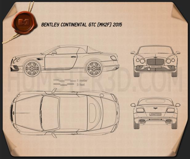 Bentley Continental GTC 2015 Blueprint