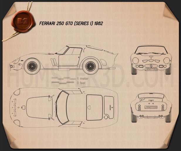 Ferrari 250 GTO (Series I) 1962 Blueprint
