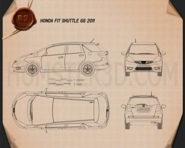 Honda Fit (Jazz) Shuttle 2012 Blueprint