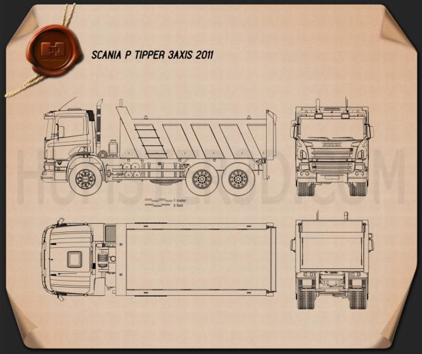 Scania P Tipper 2011 Blueprint