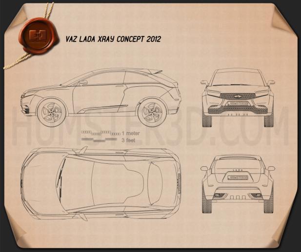Lada XRAY 2012 Concept Blueprint