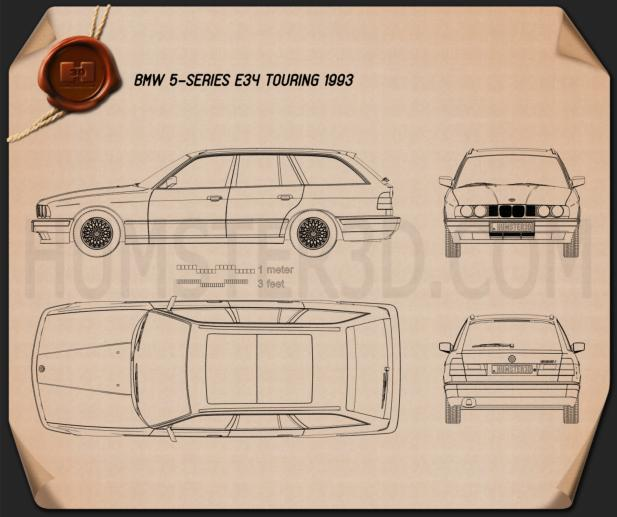 BMW 5 Series touring (E34) 1993 Blueprint