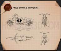 Harley-Davidson XL Sportster 1957 Blueprint