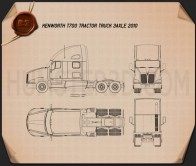 Kenworth T700 Tractor Truck 3-axle 2010 Blueprint