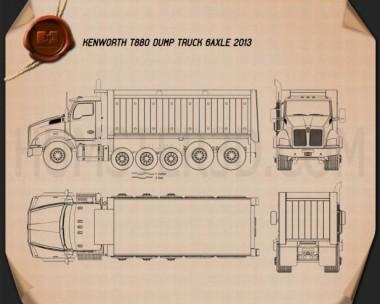 Kenworth T880 Dump Truck 6-axle 2013 Blueprint