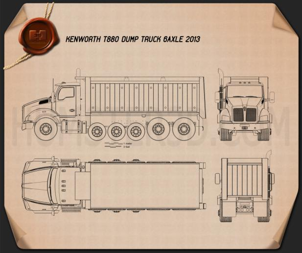 Kenworth T880 Dump Truck 6-axle 2013 Blueprint