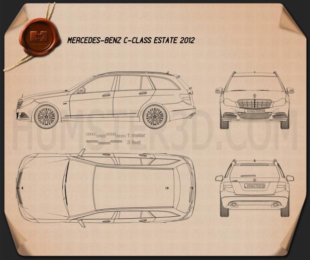Mercedes-Benz C-class Estate 2012 Blueprint