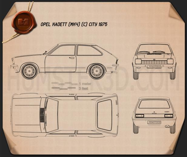 Opel Kadett City 1975 Blueprint