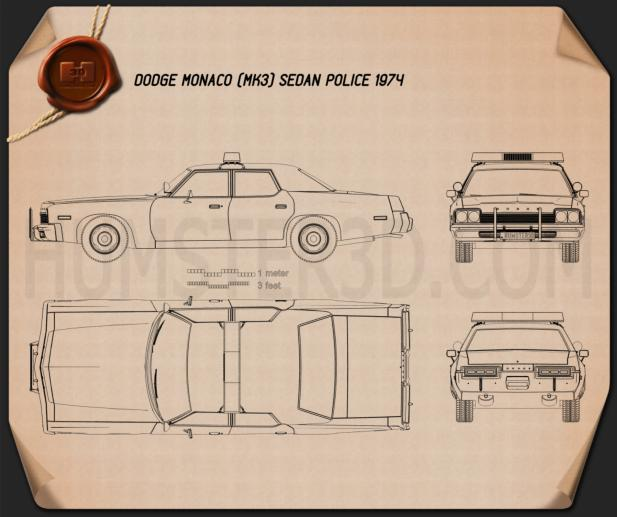 Dodge Monaco Police 1974 Blueprint