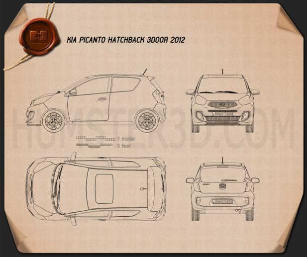 Kia Picanto (Morning) 3-door 2012 Blueprint