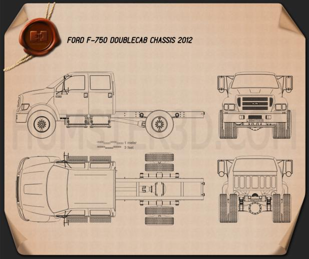 Ford F-750 Double Cab Chassis 2012 Blueprint