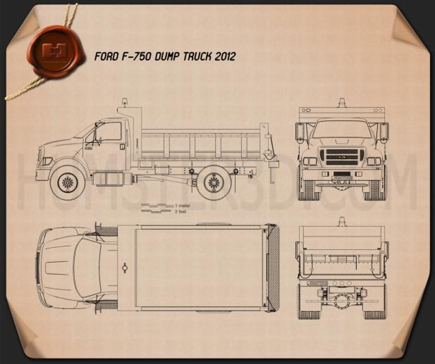 Ford F-750 Dump Truck 2012 Blueprint
