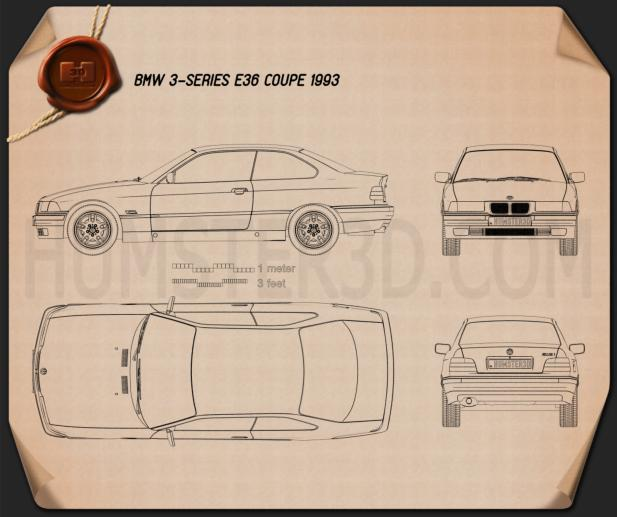 BMW 3 Series (E36) coupe 1994 Blueprint