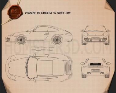 Porsche 911 Carrera 4S Coupe 2011 Blueprint