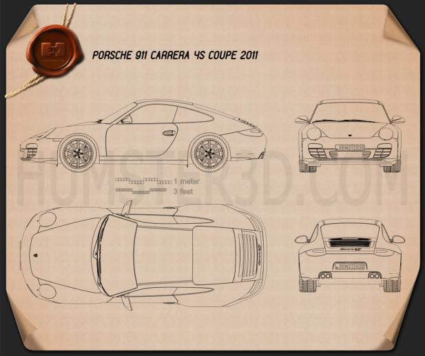 Porsche 911 Carrera 4S Coupe 2011 Blueprint