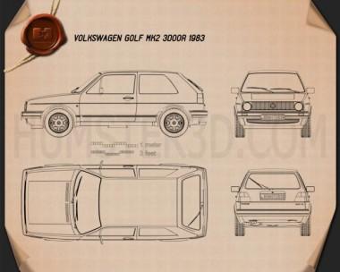 Volkswagen Golf Mk2 3-door 1983 Blueprint