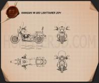 Kawasaki Vulcan 900 Light Tourer 2014 Blueprint