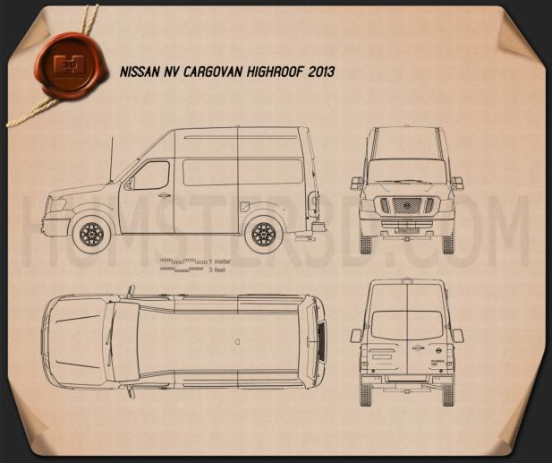 Nissan NV Cargo Van High Roof 2013 Blueprint