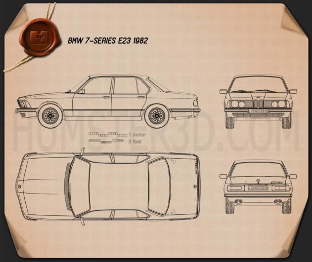 BMW 7 Series (E23) 1982 Blueprint