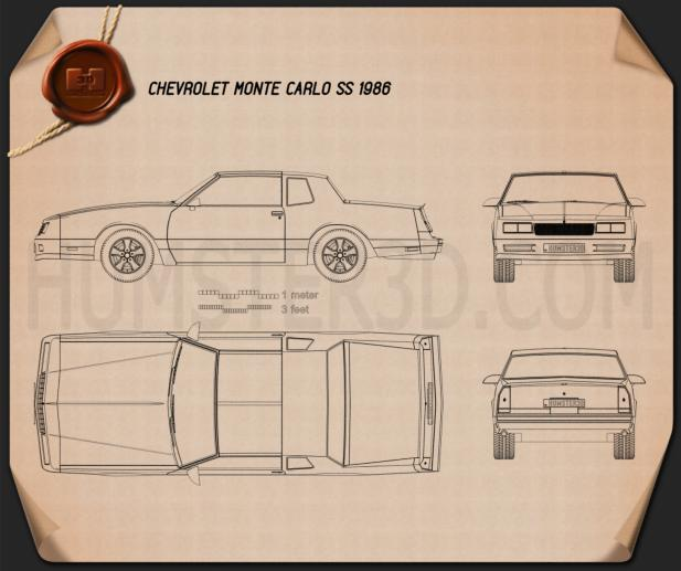 Chevrolet Monte Carlo SS 1986 Blueprint