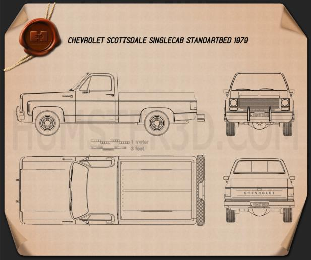 Chevrolet C/K Scottsdale Single Cab Standart Bed 1979 Blueprint