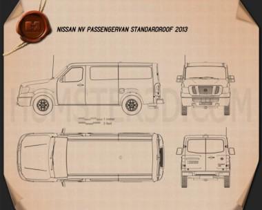 Nissan NV Passenger Van Standard Roof 2013 Blueprint
