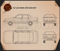 VAZ Lada Samara (2115) sedan 1997 Blueprint