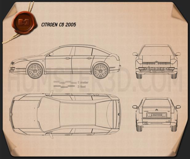 Citroen C6 2005 Blueprint