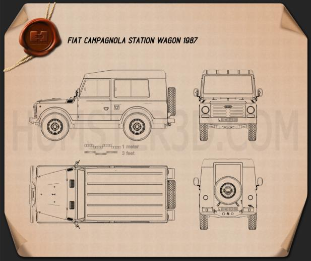 Fiat Campagnola Station Wagon 1987 Blueprint