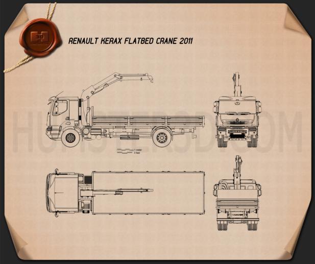 Renault Kerax Flatbed Crane 2011 Blueprint