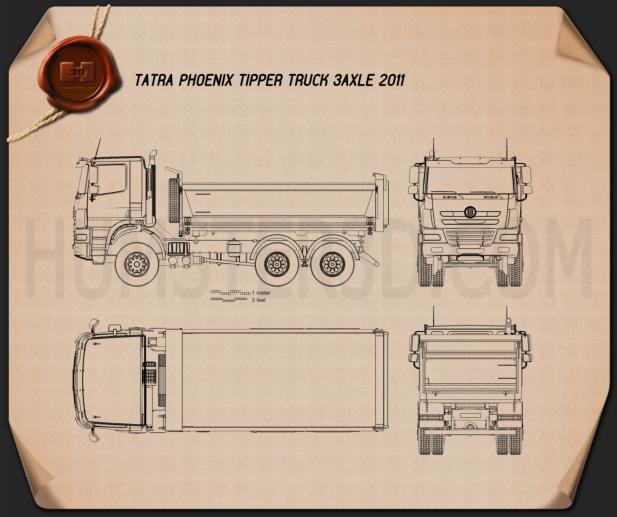 Tatra Phoenix Tipper Truck 3-axle 2011 Blueprint