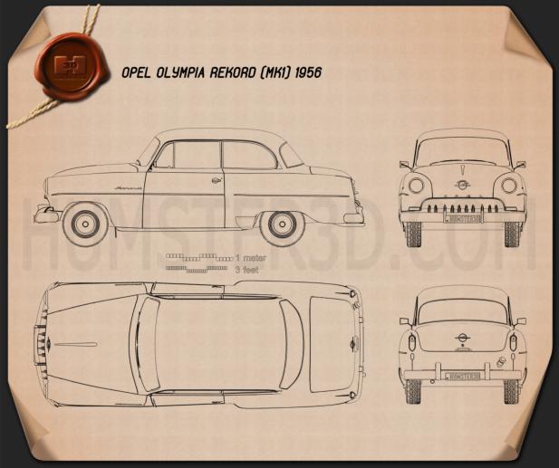 Opel Olympia Rekord 1956 Blueprint