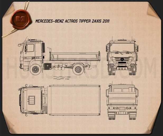 Mercedes-Benz Actros Tipper 2-axle 2011 Blueprint