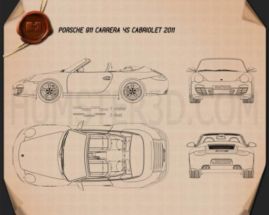 Porsche 911 Carrera 4S Cabriolet 2011 Blueprint