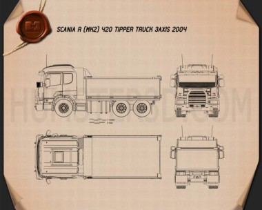 Scania R 420 Tipper Truck 2004 Blueprint