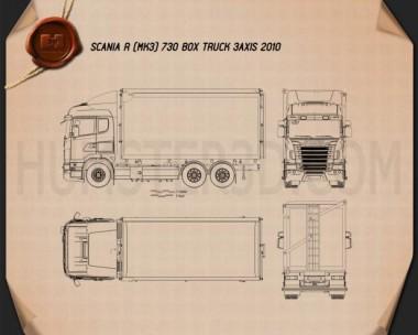 Scania R 730 Box Truck 2010 Blueprint