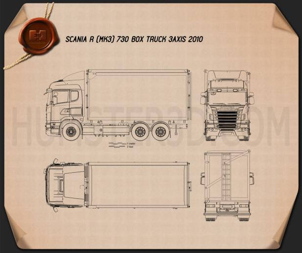 Scania R 730 Box Truck 2010 Blueprint