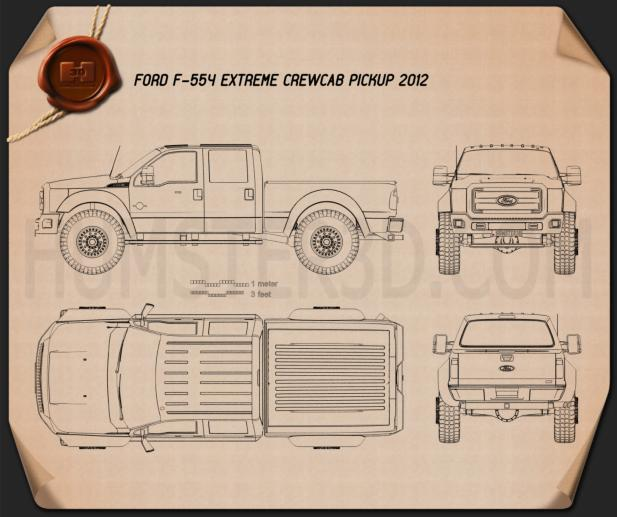 Ford F-554 Extreme Crew Cab pickup 2012 Blueprint