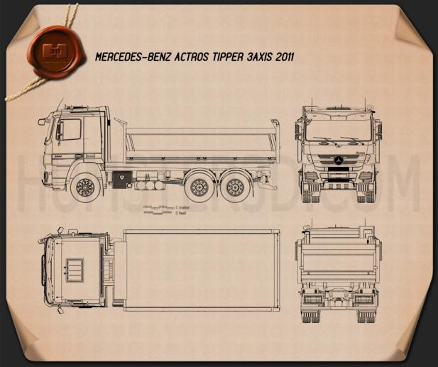 Mercedes-Benz Actros Tipper 3-axle 2011 Blueprint