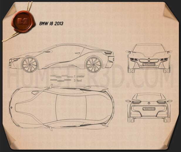 Bmw I8 Concept 2013 Blueprint Hum3d