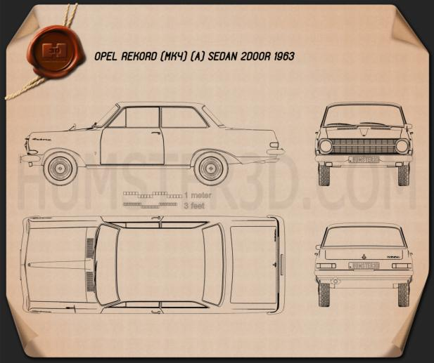 Opel Rekord (A) 2-door sedan 1963 Blueprint