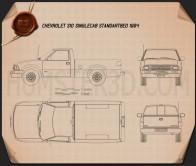 Chevrolet S10 Single Cab Standart Bed 1994 Blueprint