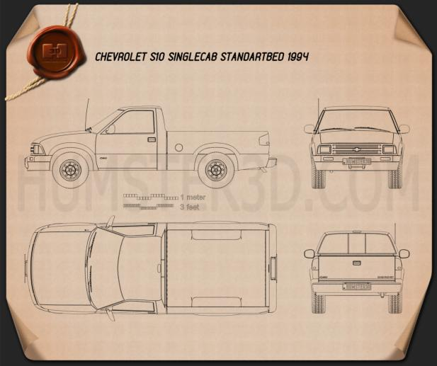 Chevrolet S10 Single Cab Standart Bed 1994 Blueprint