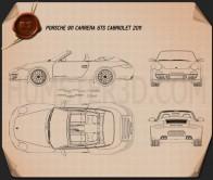 Porsche 911 Carrera GTS Cabriolet 2011 Blueprint